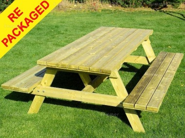 Awesome Repackaged 6 Seater Picnic Bench 217 Pressure Treated Spiritservingveterans Wood Chair Design Ideas Spiritservingveteransorg